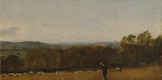 A Shepherd in a Landscape looking across Dedham Vale towards Langham
