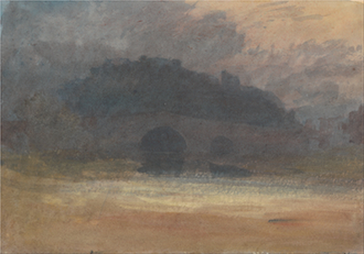 Evening Landscape with Castle and Bridge in Yorkshire
