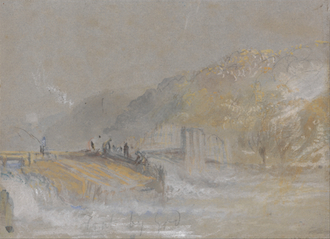 Foul by God - River Landscape with Anglers Fishing From a Weir