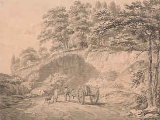 Man with Horse and Cart Entering a Quarry