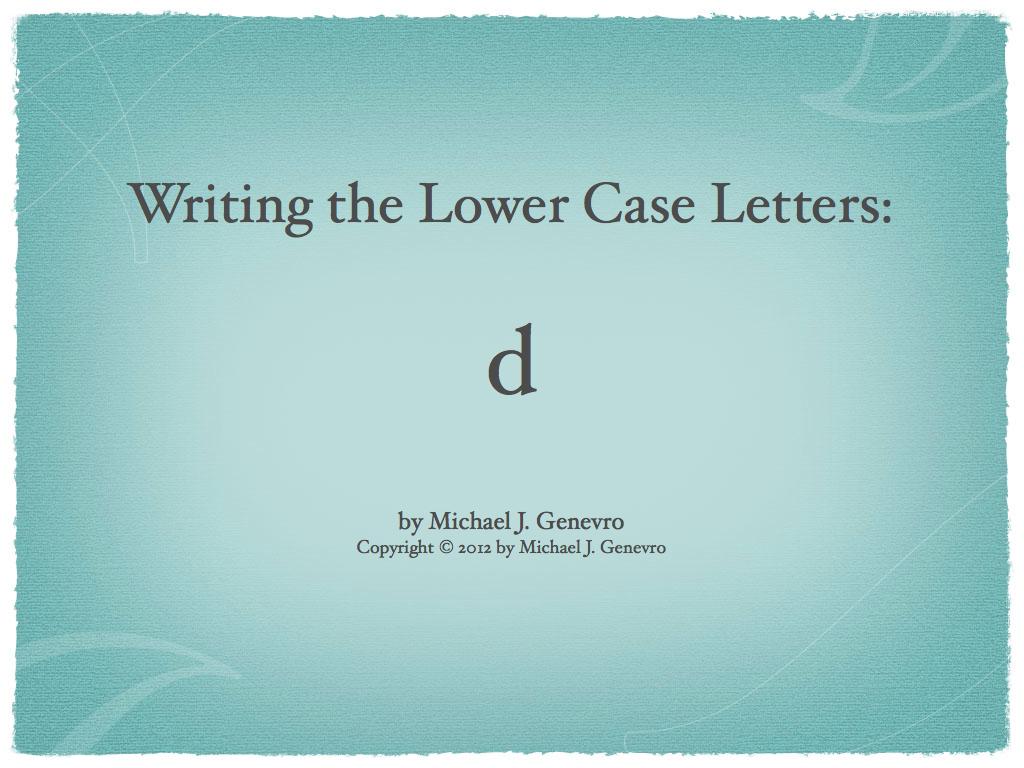 Handwriting Practice: d