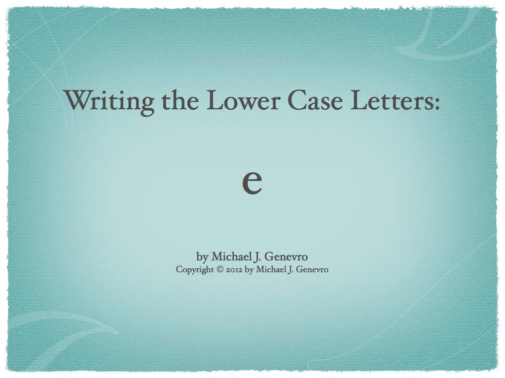 Handwriting Practice: e