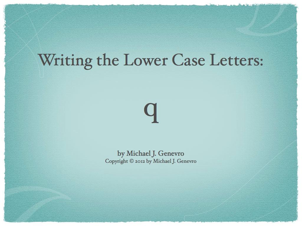 Handwriting Practice: q