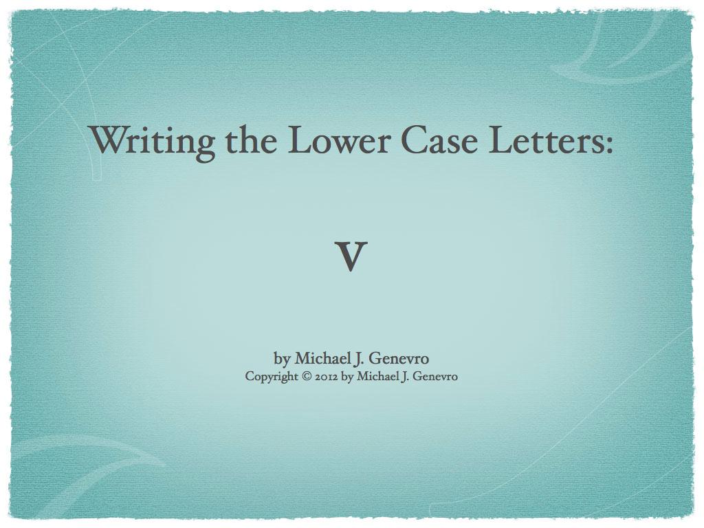 Handwriting Practice: v