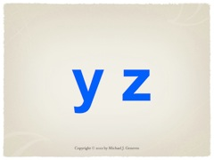 Practice Saying Names of Letters: yz